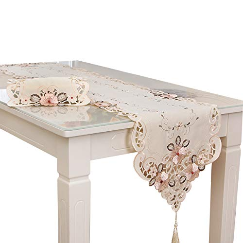 Haokaini Camino de mesa de té blanco vintage bordado flores mesa de mesa con borlas, centro de mesa para bodas, fiestas, banquetes, comedor, decoración del hogar