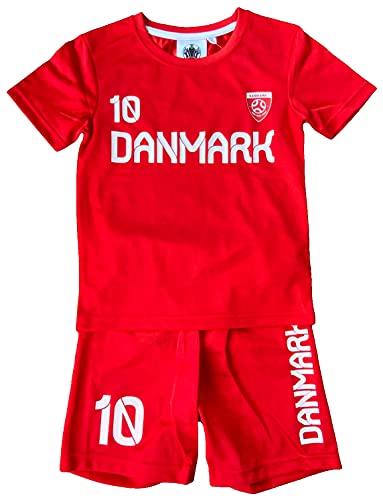 Coole-Fun-T-Shirts Denmark Trikotset Fussball DÄNEMARK Kinder Jungen + Mädchen Trikot + Hose Rot Gr.116