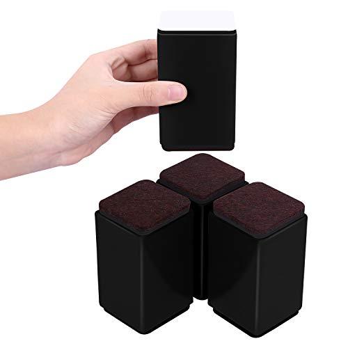 AIRUJIA 高さ調節 60*100mm 4個セット テーブル・ベッド・こたつの高さ調整 高さ上げる 粘着 高さ調節が簡単にできる 方形 黒