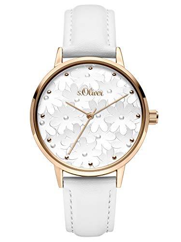 s.Oliver Damen Analog Quarz Uhr mit Leder Armband SO-3787-LQ