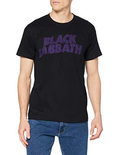 Black Sabbath Herren T-Shirt Wavy Logo Vintage, Black, X-Large