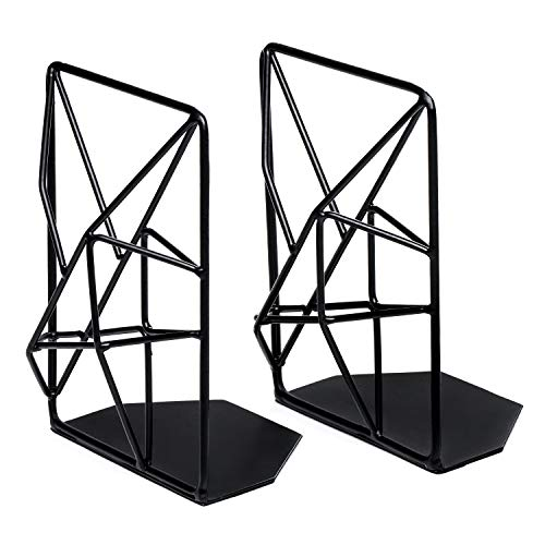 SONGXIN Book Ends for Shelves Black Metal Bookends Decorative for Heavy Books Decorative Book Ends for Children Office Geometric Design Book Support Book Stopper for Home Kitchen