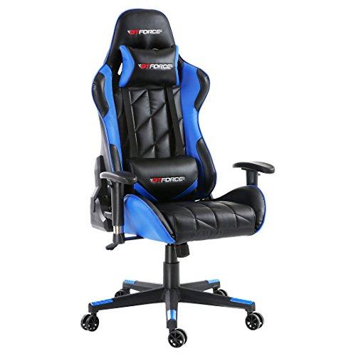 GTFORCE PRO GT - sedia gaming reclinabile - in simil pelle - da scrivania, per il PC o per videogiochi sportivi e racing - Blu