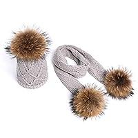 JPIUE 冬の新しい子供用ニットかぎ針園の帽子の暖かいと厚い帽子のスカーフの赤ちゃんの毛皮の毛皮の毛皮の毛皮の帽子の 男の子と女の子ニット帽子 (Color : Gray, サイズ : Medium)
