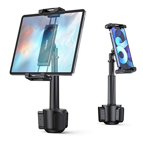 """Car Cup Holder Tablet Mount, TEANRE Universal Tablet & Smartphone Car Cradle Holder, Compatible with iPad Pro/Air/Mini, Tablets, Smartphones, Tab, Kindle, for 4.7"""" to 12.9"""" Devices"""