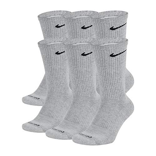 NIKE Dri-Fit Training Everyday PLUS MAX Cushioned Crew Socks 6 PAIR Wolf Grey Black Swoosh Logo) LARGE 8-12