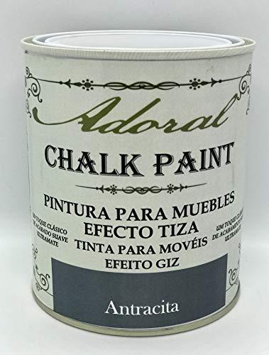 Adoral - Chalk Paint Pintura para muebles Efecto Tiza 750 ml (Antracita)