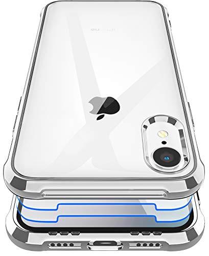 Garegce Coque iPhone XR + 2 Pack Verre Trempé Protection écran, Housse Transparente Silicone TPU Antichoc Bumper Protection Cover Etui pour iPhone XR - 6.1pouces - Placage Argent