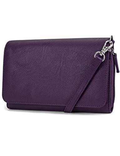 Mundi RFID Crossbody Bag For Women Anti Theft Wallet Purse Handbag Wallet Vegan Leather ((Purple))