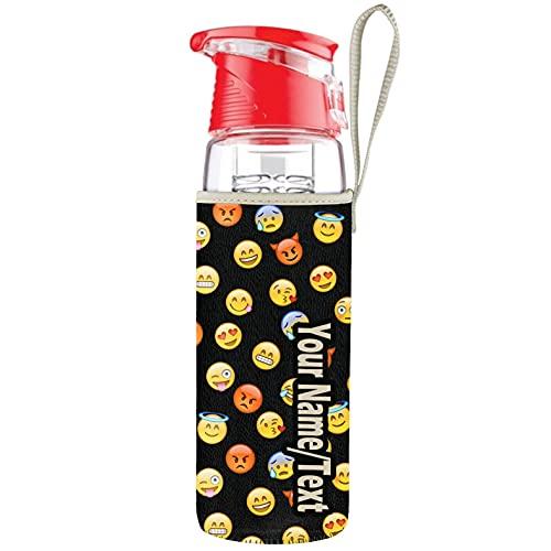 Botella de agua personalizada con contenedor de frutas Una botella deportiva para bebidas con un asa Cierre fuerte no contiene BPA, Emoji black + tu nombre [110]