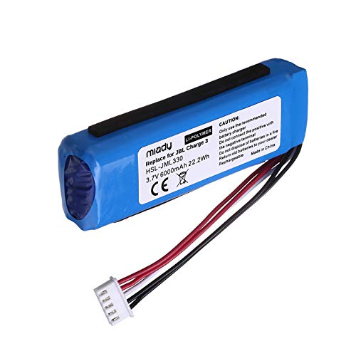 Miady 6000mAh 22.2Wh 3.7V Li-Polymer Bluetooth Speaker Replacement Battery for JBL Charge 3 2016 Version, Fits JBL GSP1029102A