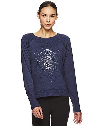 gaiam Damen Pullover Yoga Sweater Langarm Graphic Activewear Shirt - Blau - Mittel