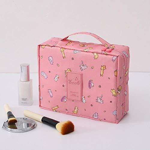 Heng Femmes Maquillage Sac en Nylon Cosmétique Sac de beauté Cas Maquillage Organisateur Féminin Trousse de Toilette Kits De Stockage Voyage Lavage Pochette, Chat, 24 cm-20 cm-8.5 cm
