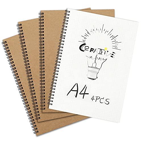 Cuaderno de cuadrícula en espiral A4, Bloc de notas con tapa de Kraft negro de cuadrícula cuadrada de tapa dura, Cuaderno de bocetos de papel de cartucho blanco clásico para dibujo, oficina, escuela