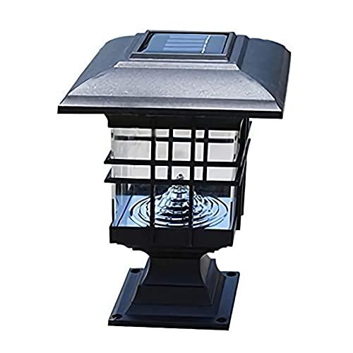Lámpara de columna para patio solar para exteriores Luz solar LED Lámpara de cabeza de columna impermeable para exteriores Decoración de jardín Seguridad y ahorro de energía Luces de energía solar Lá