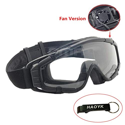 haoYK Fan Version Kühler Airsoft Glas Regulator Brille Ski Snowboard Bike Sport (Schwarz)