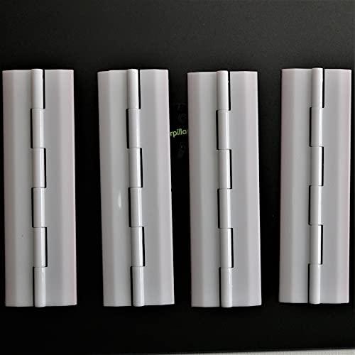 4x Blanco Bisagras acrílicas: no se requiere pegamento. Autoadhesivas. Plástico Blanco acrílico 150mm