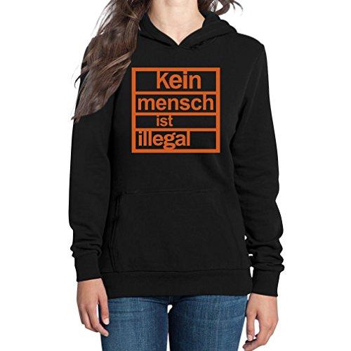 Shirtgeil Kein Mensch Ist Illegal - Antirassismus Frauen Kapuzenpullover Hood Medium Schwarz