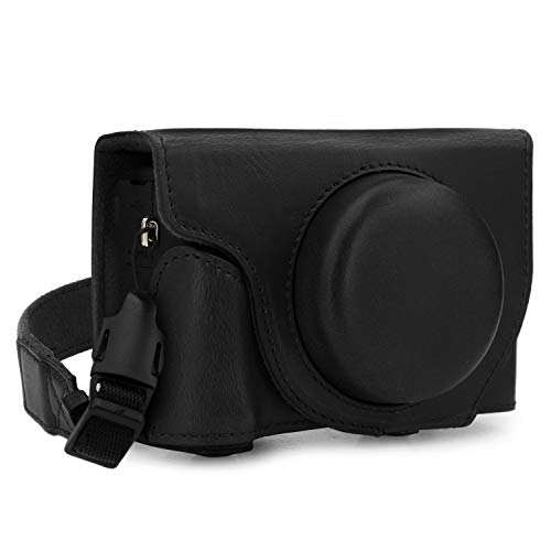 MegaGear Ever Ready MG1736 - Funda de Piel para cámara Canon PowerShot G5 X Mark II, Color Negro