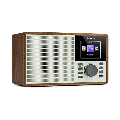 "auna IR-160 SE - Internetradio, DAB+ & UKW Radio, Mediaplayer: Spotify Connect/BT/USB/UPnP/DLNA, 2, 8"" HCC Display, unterstützte Dateiformate: WMA / MP3, Line-Out, braun"