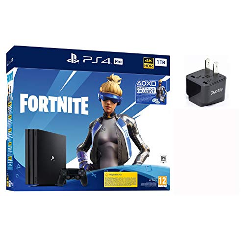 PlayStation 4 Pro 1TB Euro Version+ Fortnite Deluxe Bundle US Edition, w/HESVAP US Adapter
