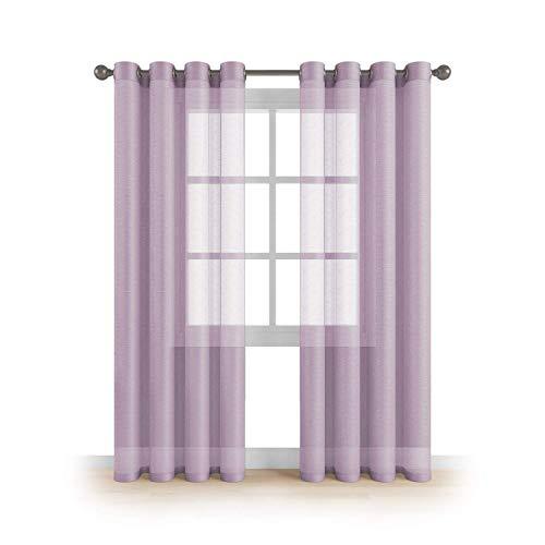 Kingnet Cortina de visillos semitransparentes Lisos con 8 Ojales, Juego de 2 Piezas visillos de 145x260cm, Efecto para Ventana hogar salón Dormitorio habitación (J-0577, 145X260CM)