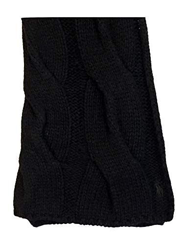 Polo Ralph Lauren Womens Cable Knit Lambswool Blend Pony Logo Scarf (One size, Black)