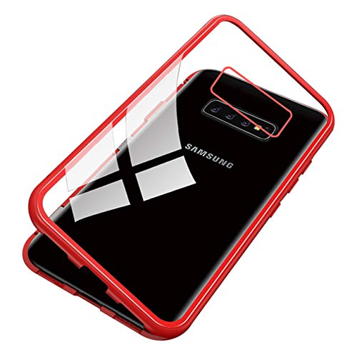 Vomano Galaxy S10 Plus Magnet case, Ultra Slim Shockproof Magnetic Adsorption Flip Tempered Glass Cover (Red)