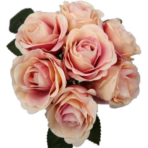 FS - Ramo de Rosas Artificiales (31 cm, 7 Cabezas de Flores Grandes), Malva, 1 Bunch