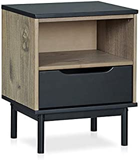MUSEHOMEINC Mid-Century Modern Wood Nightstand with Storage Drawer and Shelf for Bedroom/Metal Leg Design/End Table/Side Table, Black and Antique Gray Finish