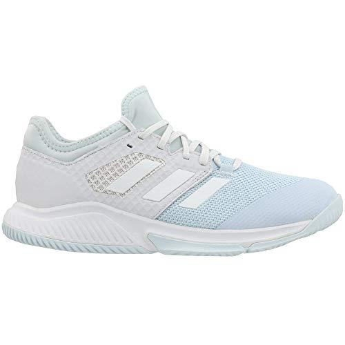adidas Female Court Team Bounce Shoes Sky Tint/White/Orange-6.5