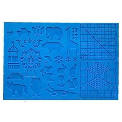 Kacniohen Silikon-Zeichenbrett 3D Pen Mat 3D Pen Stencils Buch 3D Stift Zeichenwerkzeuge Blau Kreative DIY Geschenk