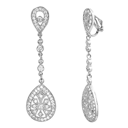 HAISWET Bridal Art Deco Pave Cubic Zirconia Chandelier Dangle Clip On Earrings Silver Tone
