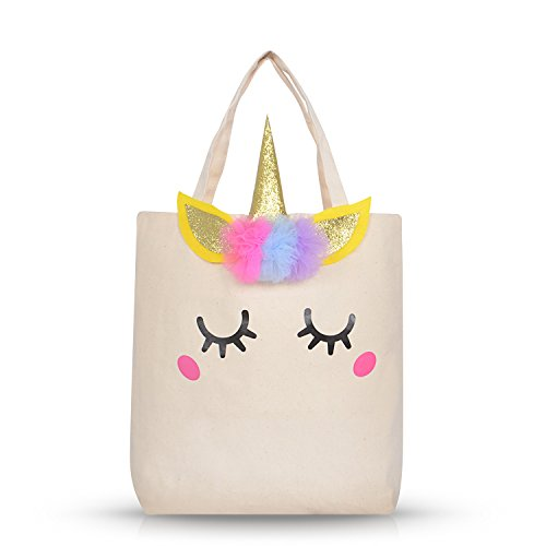 Unicorn Tote Bag for Kids Girls Large Cotton Canvas Tote Bag for School Library Books Shopping Beach Unicorn Gifts