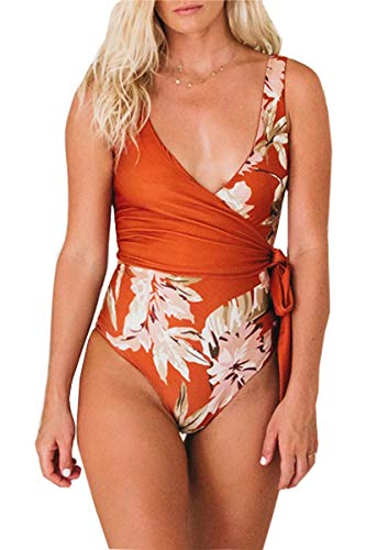 CHYRII Women's Floral Print One Piece Bathing Suit Tie at Waist High Cut Swimsuit Orange M