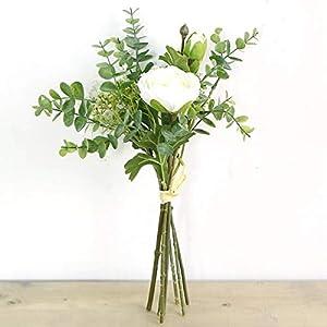 Artificial Rose Flowers with Gypsophila Eucalyptus Bouquet Silk Flowers Rose for Home Bridal Wedding Party Festival Decor (1 Bouquet)(White)