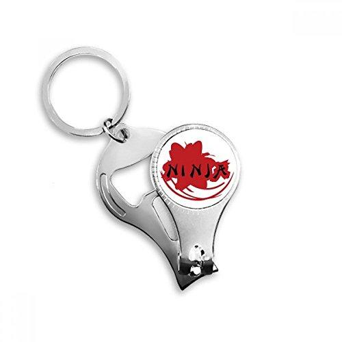 DIYthinker Japan Ninja Woorden Sakura Silhouette Sleutelhanger Ring Teen Nagel Clipper Snijder Schaar Gereedschap Kit Flesopener Gift