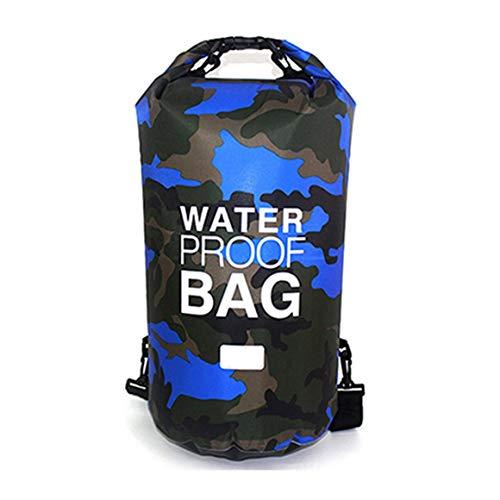 Camuflaje al Aire Libre Rafting portátil Buceo Bolsa de Saco seco Bolsa de PVC Bolsa de Almacenamiento de natación Plegable Impermeable para Senderismo en el río Paperllong