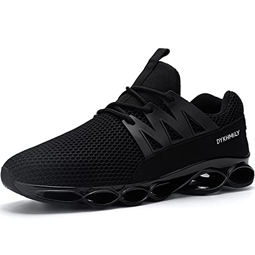 DYKHMILY Safety Sneakers for Women Slip Resistant Lightweight Walking Shoes Cushion Steel Toe Tennis Shoe Breathable Work Shoes for Food Service(10.5,Bright Black,D91808)