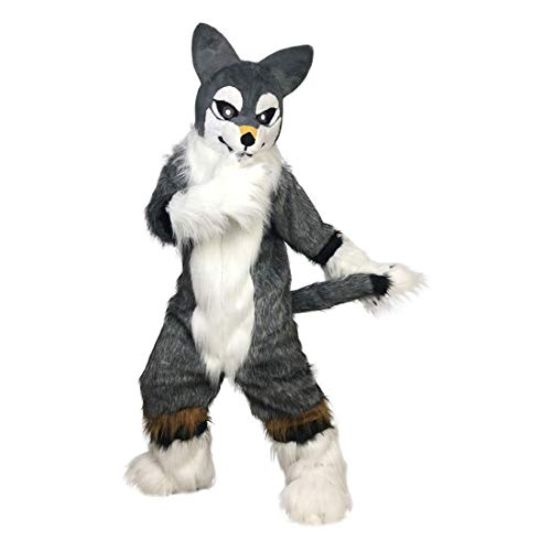 Fox Dog Husky Wolf Fursuit Cosplay Mascot Costume Cartoon Real Picture 15-20days delivery (Grey and white 2)