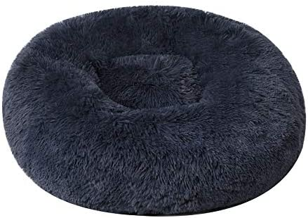 BinetGo Calming Cat Beds for Indoor Cats – Large Cat Bed Washable 20 inches, Anti Anxiety Round Fluffy Plush Faux Fur Pet Bed, Fits up to 15 lbs Pets (20″, Navy Grey)