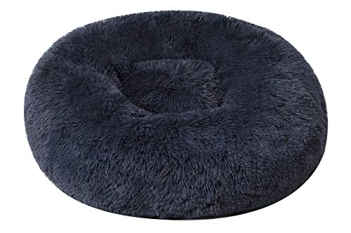 BinetGo Calming Donut Cat and Dog Bed Cushion Bed Faux Fur Donut Cuddler for Dog Cat Joint-Relief and Improved Sleep – Machine Washable, Waterproof Bottom (24″, Navy Grey)