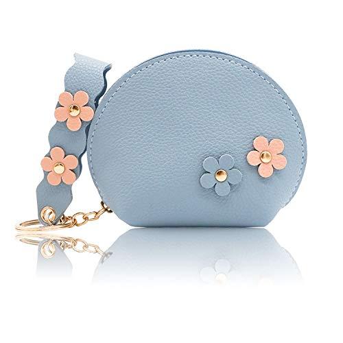 conisy Portamonete Piccolo Pelle Carina Sacchetto chiave per Donna e Ragazze - Borsellino Portachiavi (Fiore,Blu)