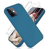 YiKaDa - Cover Compatibile con iPhone 12 / iPhone 12 PRO (6.1') + [2 Pack] Pellicola Protettiva in Vetro Temperato, Custodia Liquid Silicone Leggero - Blu Mare