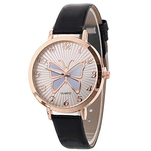SANDA Relojes De Pulsera,Termómetro Color patrón de Mariposa Reloj de cinturón Reloj de Pulsera Simple Reloj de Mujer Reloj de Moda-Negro