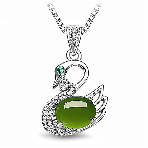 JIUXIAO Moda Cisne Verde Jade Esmeralda Piedras Preciosas Collares con Colgante de Diamantes para Mujeres Oro Blanco Color Plata Gargantilla joyería Bijoux Regalo