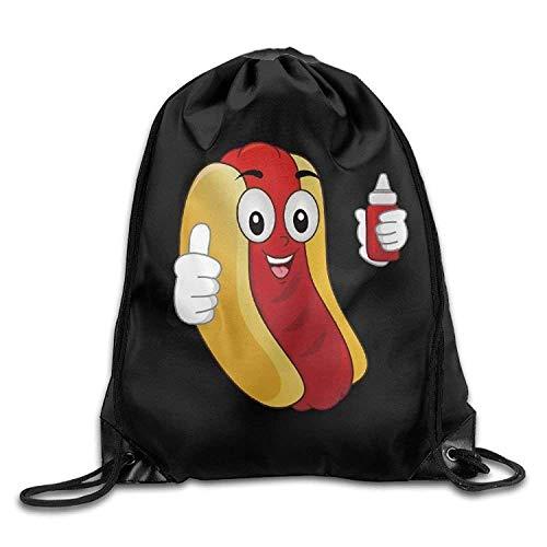 Lsjuee Funny Hotdog Ketchup Print Drawstring Backpack Rucksack Shoulder Bags Gym Bag Sport Bag