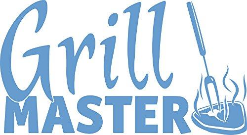 GrazDesign 620602 Muurtattoo Keukenspreuk Grillmaster Steak | Stickers voor buiten op grill mannen | Voor grillparty's | plakt op metaal - hout - glas - meubels - tafels 92x50cm 056, lichtblauw