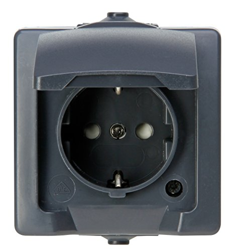 Kopp 107815006 Nautic 1-voudig geaard stopcontact, met klapdeksel en verhoogde aanraakbescherming, opbouw, voor vochtige ruimtes, 250 V, 16 A, IP 44, antraciet