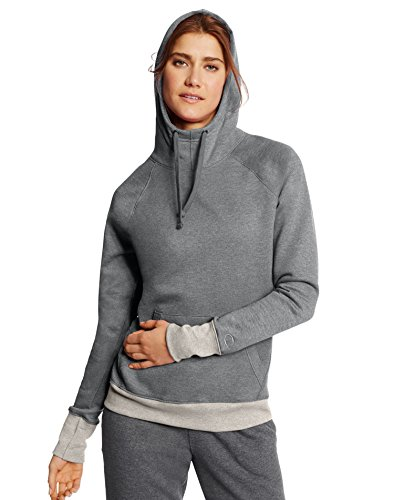 Champion Women's Fleece Pullover Hoodie, Oxford Heather/Oatmeal Heather, X-Large
